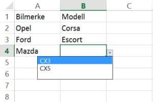 Datavalidering med dynamiske lister