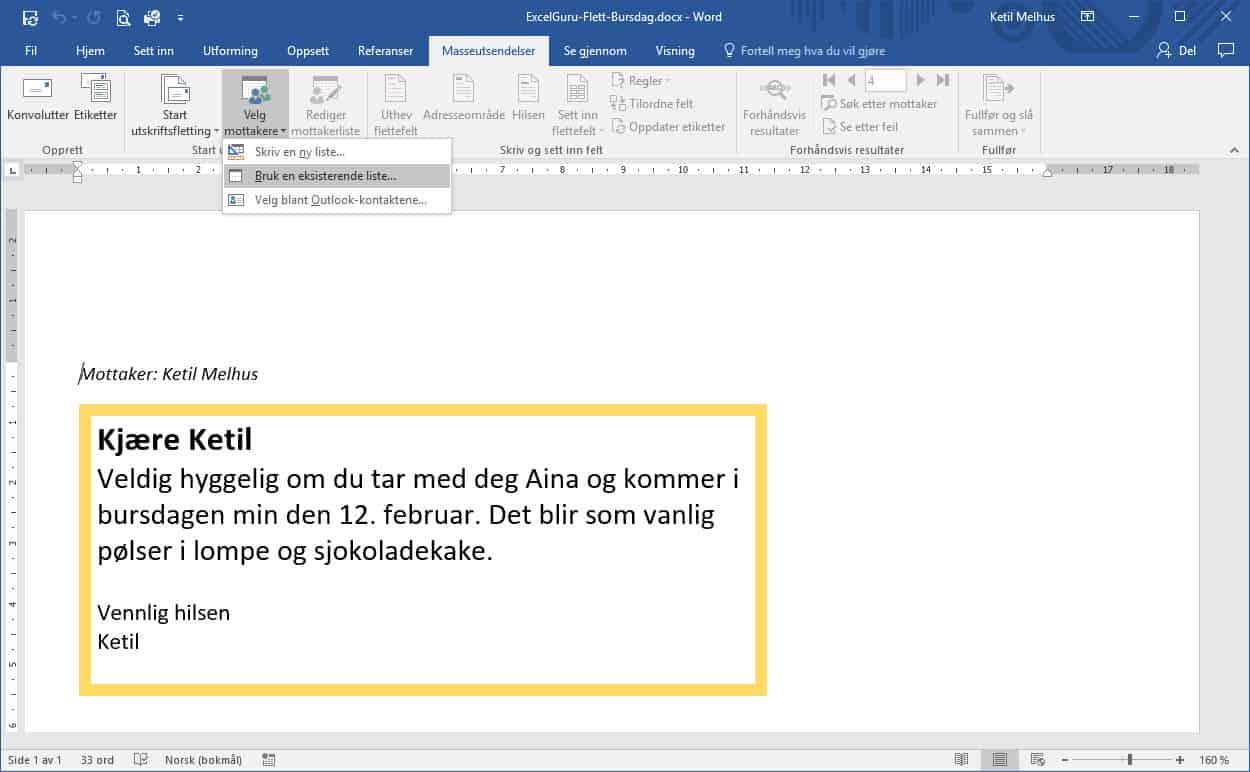 Flette til Outlook fra Word og Excel - ExcelGuru - Excel på norsk
