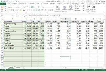 Timeregistrering i Excel?