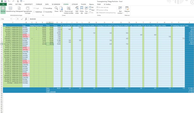 Timeliste, Timeregistrering og lønnsberegning med forskjellige prosenttillegg