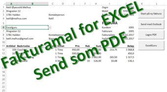 Lage faktura i Excel og sende som PDF fra Outlook
