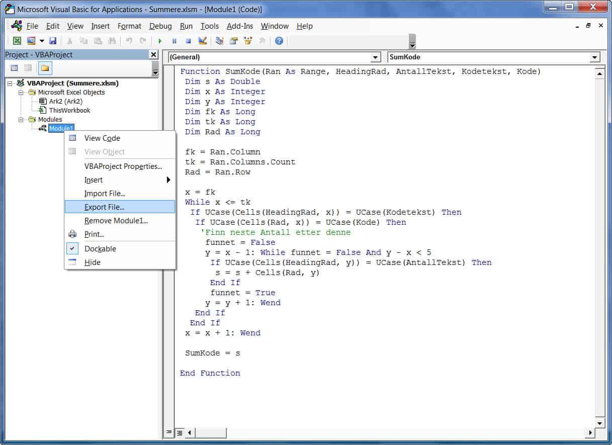 Hvordan kopiere makroer (VBA) fra en Excelbok til en annen - ExcelGuru - Excel på Norsk