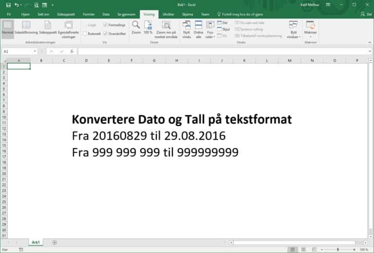 Konvertere datoer og tall fra tekstformat til fungerende datoer og tall