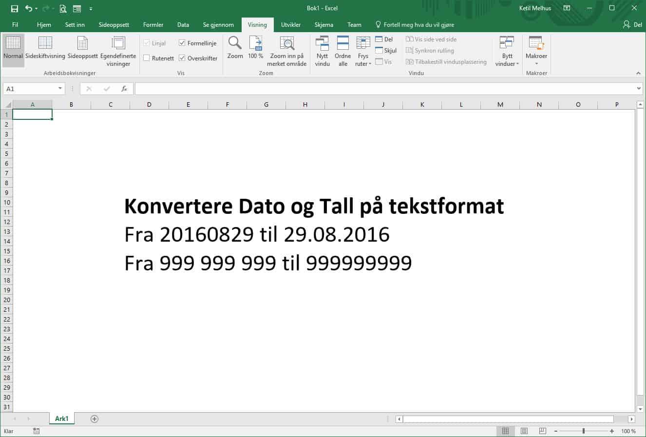 Konvertere datoer og tall