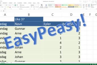 Om å velge Trøbbel eller Easypeasy når du legger inn data i Excel