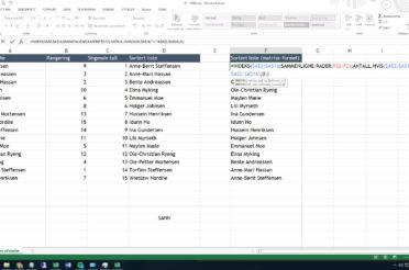 Sortere en liste ved hjelp av matriseformler