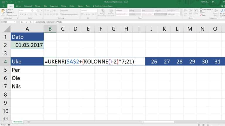 En rekke med Ukenummer og funksjonen Kolonne()