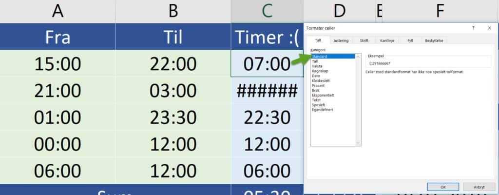 Beregne tid mellom klokkeslett