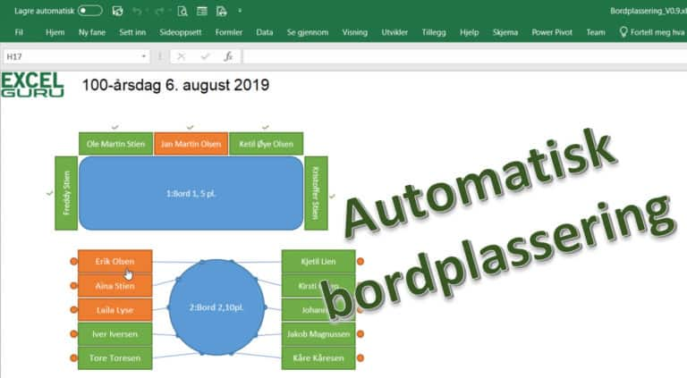 Automatisk bordplassering for bryllup og party-party